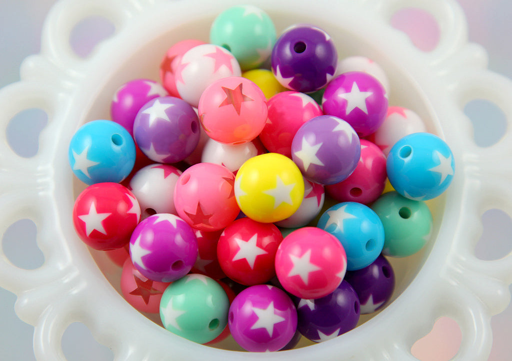 15mm Star Mix Round Resin Beads - Round Beads with Star Print - Kawaii Plastic Star Beads - 20 pc set