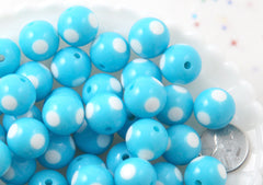 Polka Dot Beads - 15mm Inlaid Polka Dot Resin Beads - Sky Blue - 20 pc set