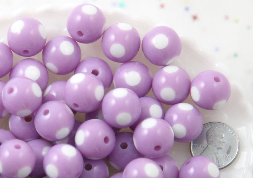 Polka Dot Beads - 15mm Inlaid Polka Dot Resin Beads - Light Purple - 20 pc set