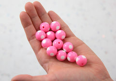 Polka Dot Beads - 15mm Inlaid Polka Dot Resin Beads - Pink - 20 pc set