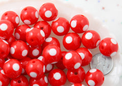 Polka Dot Beads - 15mm Inlaid Polka Dot Resin Beads - Red - 20 pc set