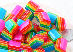 Rainbow Beads - 15mm Cylinder Rainbow Striped Resin Beads - 15 pc set