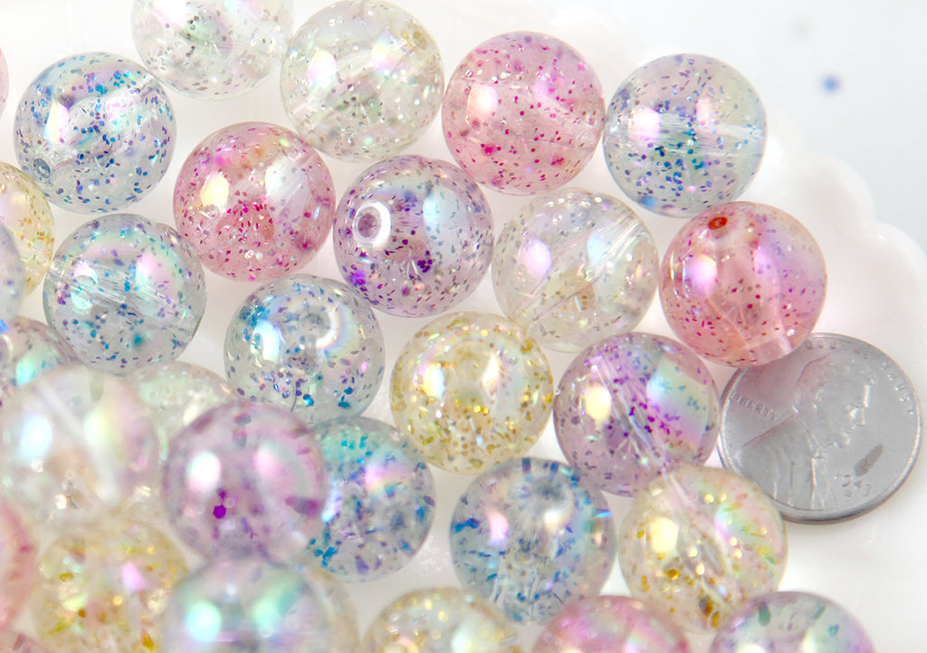 Glitter Beads - 15mm Chunky Transparent Glitter Acrylic or Plastic Beads - 12 pc set