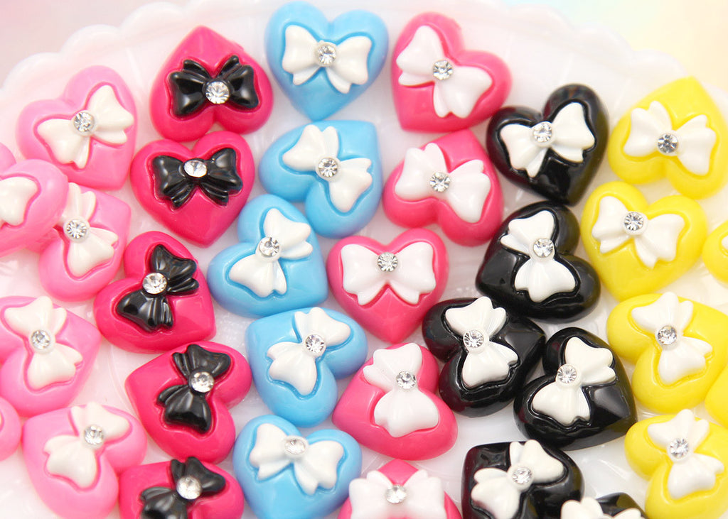 15mm Mixed Color Rhinestone Bow Heart Resin Cabochons - 6 pcs set