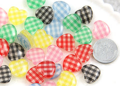 15mm Gingham Heart Resin Cabochons - 12 pc set