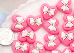 15mm Pink Bow Heart Resin Cabochons - 6 pcs set