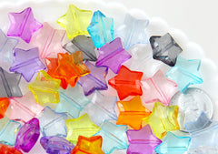 15mm Faceted Acrylic Star Beads - Lovely Translucent Sparkling Resin or Plastic Star Beads - 50 pc set