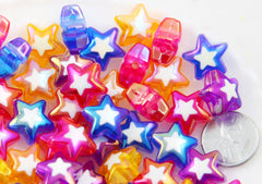 Star Beads - 16mm Amazing AB Double Star Acrylic or Resin Beads - 16 pcs set