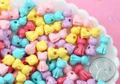 Kitty Cat Beads - 15mm Pastel Kitty Cat Bead Kawaii Acrylic or Plastic Beads - 100 pc set