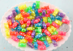 Candy Shape Beads - 15mm Tiny Neon AB Candy Shaped Acrylic or Resin Beads - 200 pc set