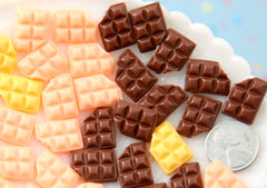 Fake Chocolate - 16mm Little Chocolate Bars Resin Cabochons - Chocolate, Strawberry, Butter Creme - 15 pc set