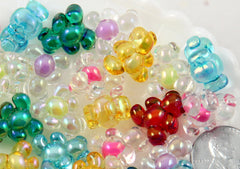 16mm Cute Little Candy Teddy Bear Acrylic or Plastic Beads - 14 pc set