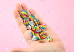 Rainbow Charms - 16mm Small Glittery Rainbow Hearts & Stars Flatback Resin Cabochons - 20 pc set