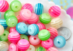 Striped Beads - 16mm Candy Colored Stripes Translucent Resin Beads - 25 pc set