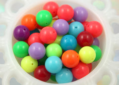 16mm New Bright Neon Gumball Bubblegum Resin Beads - 20 pc set