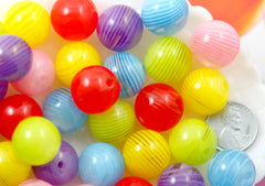 Gumball Beads - 16mm Translucent Candy Swirl Resin Gumball Bubblegum Beads - 12 pc set