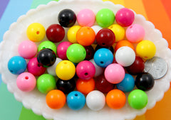 Round Acrylic Beads - 16mm Chunky Gumball Bubblegum Resin or Acrylic Beads - 36 pcs set