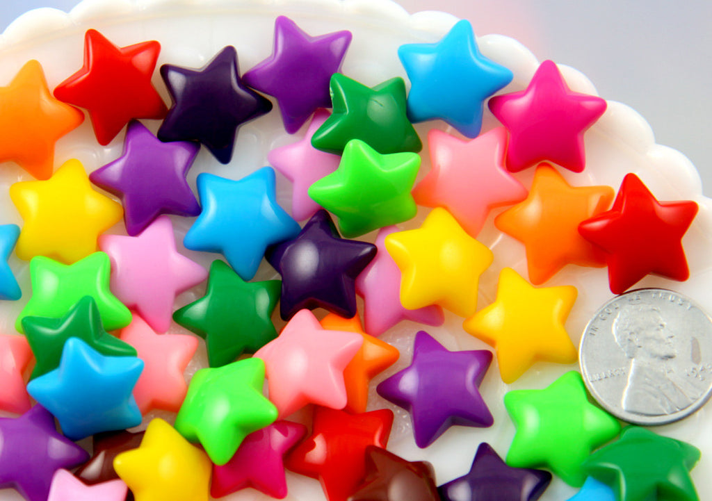 16mm Opaque Candy Stars Resin Flatback Cabochons - Colorful Star Acrylic or Plastic Cute Flat Backs - Medium Size, Mixed Colors - 20 pc set