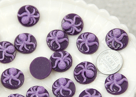16mm Octopus Cameo Resin Cabochons - 25 pc set