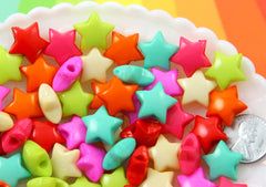 Star Beads - 16mm Puffy 3D Star Acrylic Beads - Colorful Chunky Plastic or Resin Stars Beads - 50 pcs set