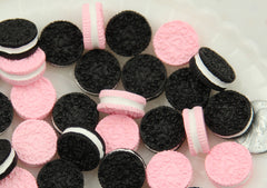 16mm Oreo Sandwich Cookie Resin Flatback Cabochons - Pink and Black - 6 pc set
