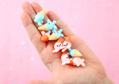 Kawaii Flat Backs - 25mm Spilled Ice Cream Cone Super Cute Resin Cabochons - 6 pc set