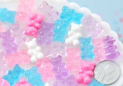 Fake Gummy Bears - 17mm Little Pastel Fake Gummy Bears Resin Flatback Cabochons - 18 pc set