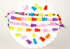 Gummy Bear Beads - 17mm Fake Gummy Bears with Hole for Stringing - Fake Candy Resin Beads - 16 pc set