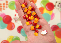 16mm Tiny French Fries Smiling Junk Food Flatback Resin Cabochons - 12 pc set