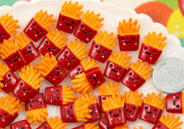 16mm Tiny French Fries Smiling Junk Food Flatback Resin