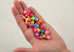 17mm Little Kawaii AB Iridescent Puffy 3D Star Plastic or Acrylic Charms or Pendants - 80 pc set