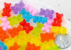 Fake Gummy Bears - 17mm Little Bright Color Fake Gummy Bears Resin Flatback Cabochons - 16 pc set