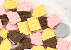 17mm Chocolate Wafer Bar Cookie Resin Flatback Cabochons - Strawberry Pink, Vanilla Yellow, Chocolate Brown - 9 pc set