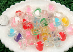 17mm Transparent Lovely Double Inner Heart Resin or Acrylic Beads - 14 pc set