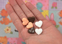 15mm Chocolate Heart Resin Flatback Cabochons - Pink and Chocolate Brown - 8 pc set