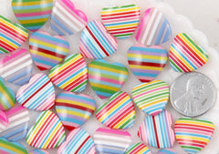 17mm Colorful Rainbow Striped Hearts Resin Flatback Cabochons - 12 pc set