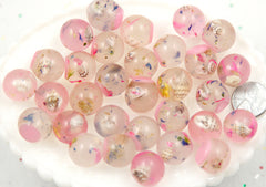 17mm Pink Fantasy World Sea Shell Mini Globe Flatback Resin Cabochons - 8 pc set