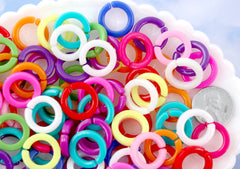 Round Plastic Chain Links - 17mm Round Plastic Links Connecting Rings Bright Colorful Plastic or Acrylic Chain Links - 100 pc set