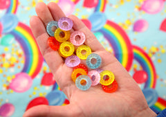 Fake Candy - 17mm Candy Ring Colorful Resin Flatback Cabochons - 24 pc set