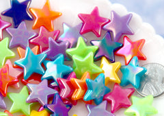 Star Beads - 17mm Bright Color Star AB Beads Acrylic or Resin Beads - 50 pcs set