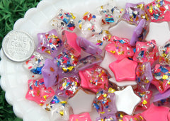 17mm Party Fun Confetti Stars Resin Cabochons - 9 pc set