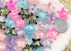 17mm Pastel AB Glitter Star Resin Cabochons – 10 pc set