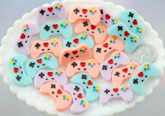 17mm Pastel Video Game Controller Resin Cabochon - Kawaii Gamer Plastic or Acrylic Flat Back - 6 pc set