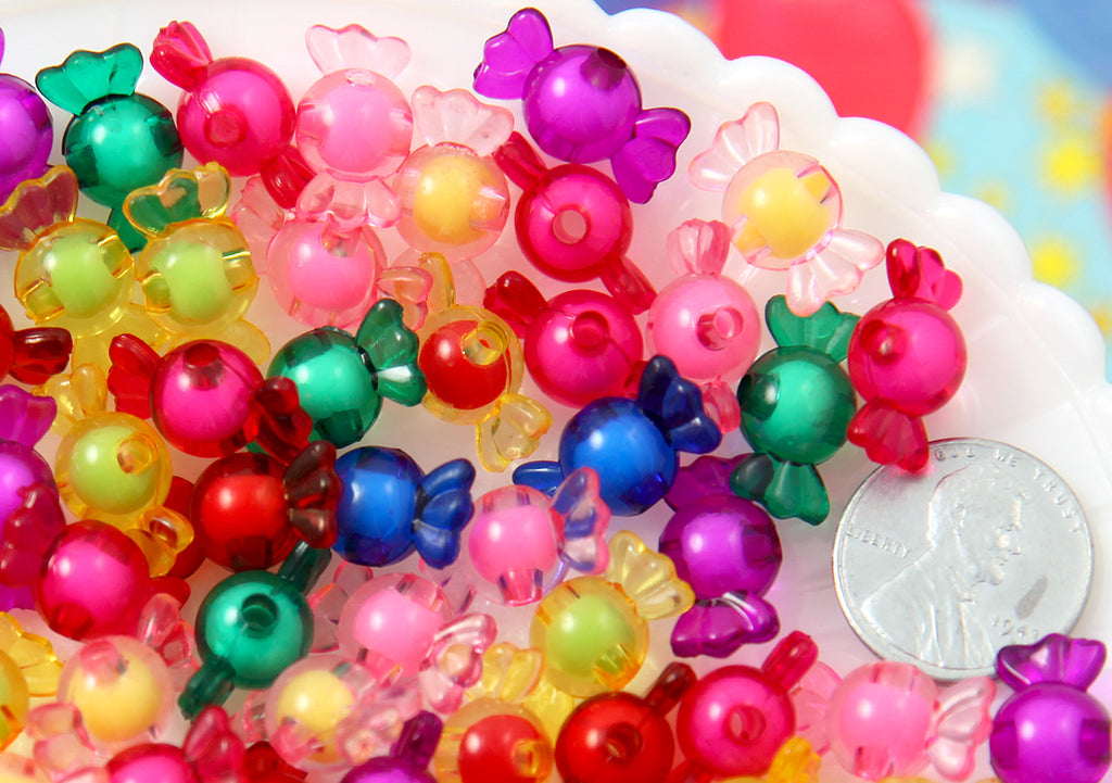 Candy Beads - 17mm Tiny Candy Shape Acrylic or Resin Beads - 50 pc set