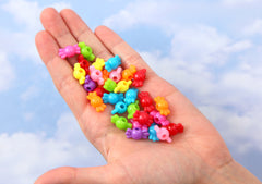 Candy Beads - 9mm Small Candy Shape Vibrant Bright Color Acrylic or Resin Beads - 100 pc set