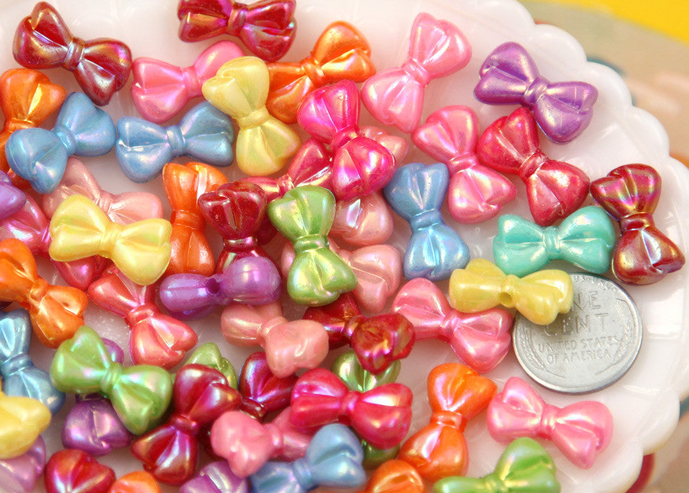 18mm AB Small Cute Bow or Ribbon Shape Iridescent Plastic Acrylic or Resin Beads - 100 pc set