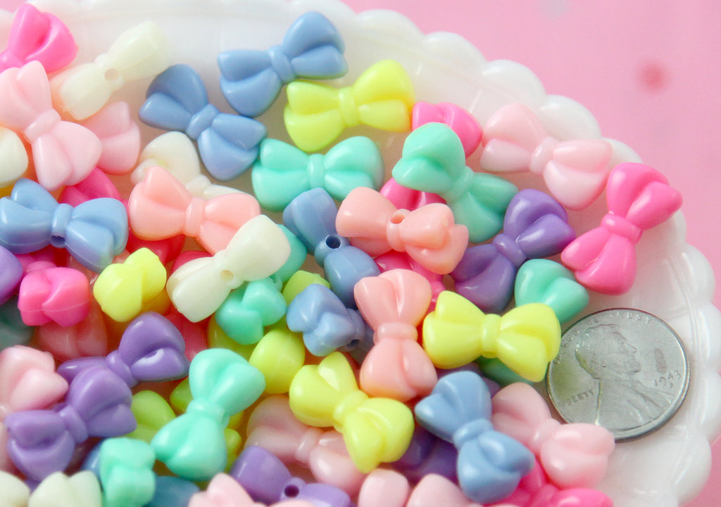 Pastel Beads - 18mm Beautiful Bright Small Cute Bow or Ribbon Shape Plastic Acrylic or Resin Beads - 80 pc set