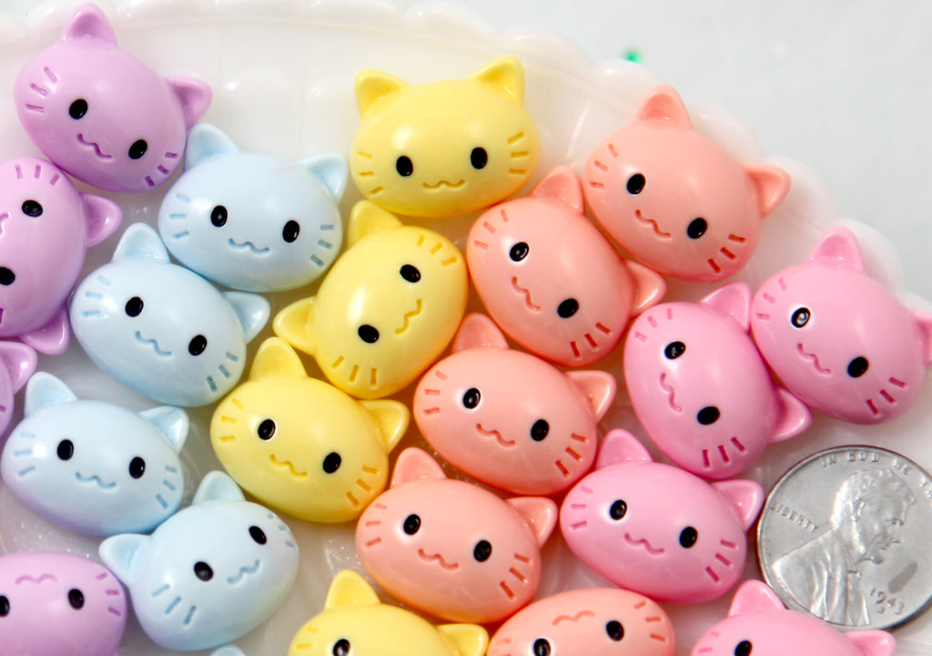 Kawaii Cabochon - 18mm Pastel Kawaii Kitty Cat Flat Back Resin Cabochons - 12 pc set