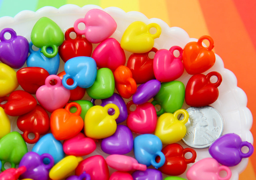 Heart Charms - 18mm Little Bright Color Heart Acrylic or Plastic Dangly Hearts Charms or Pendants - 100 pc set
