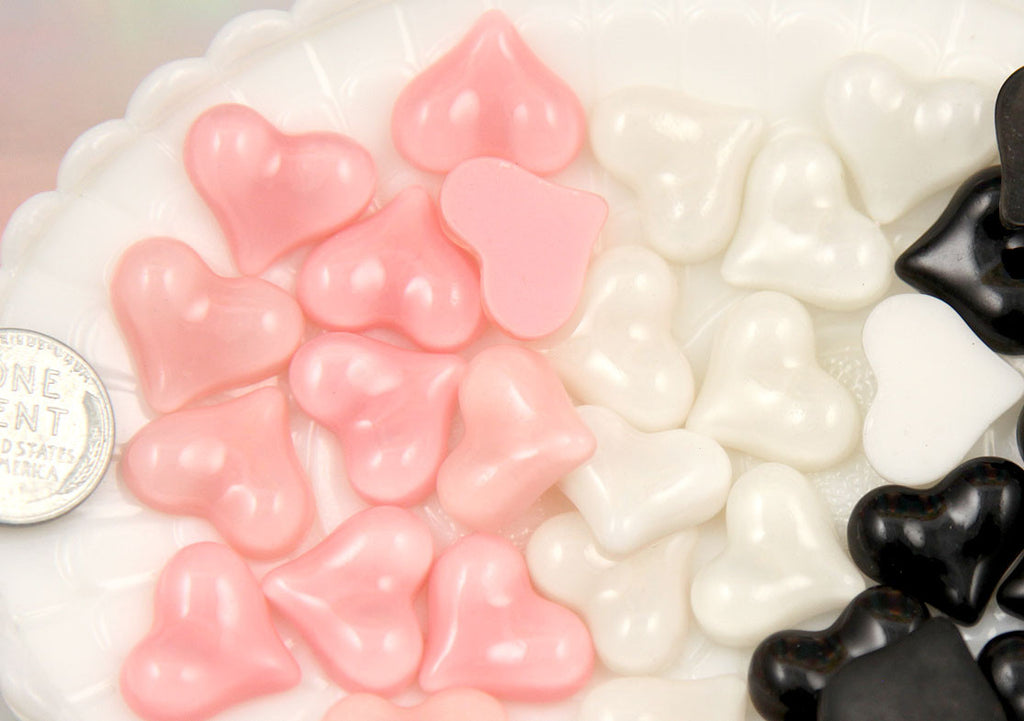 18mm Pink, White and Black Heart Flatback Resin Cabochons - 9 pc set